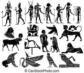 egyiptom, vektor, ősi, téma