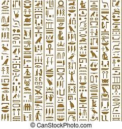 egyiptomi, ősi, seamless, hieroglyphs