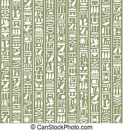 egyiptomi, képírásos, dekoratív, háttér, ősi