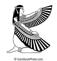 egyiptomi, nemzeti, drawing.