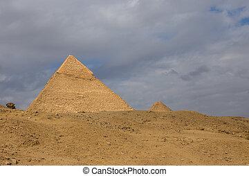 egyiptomi, piramis, alatt, közül, giza, egyiptom
