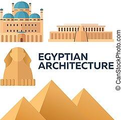 egypťan, architecture., moderní, byt, design., vektor, illustration.