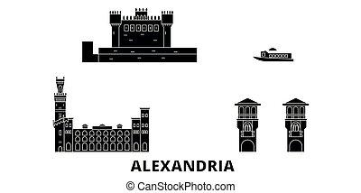 Egypt, Alexandria flat travel skyline set. Egypt, Alexandria...
