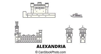 Egypt, Alexandria line travel skyline set. Egypt, Alexandria...