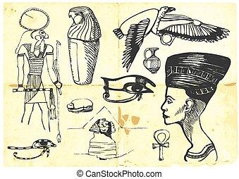 egypt - An hand draw illustration - (black marker technique)...