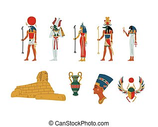 Egypt Ancient Symbols, Gods and Goddess Set Vector Illustration