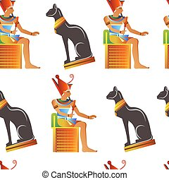 Egypt and Egyptian mythological signs seamless pattern isolated background vector.