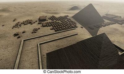 egypt., animation, 4k, giza, plate-forme, au-dessus