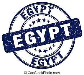 Egypt blue grunge round vintage rubber stamp