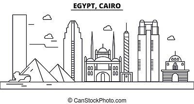 Egypt, Cairo architecture line skyline illustration. Linear...
