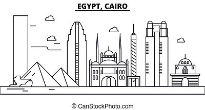 Egypt, Cairo architecture line skyline illustration. Linear...