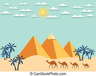 Egypt. Camels on the background of the pyramids. Landscape. Vector.
