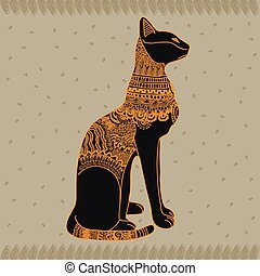 Egypt cat vector graphic illustration design art