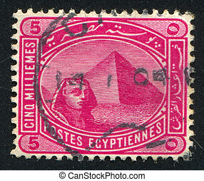 Sphinx and Pyramids - EGYPT - CIRCA 1906: stamp printed by...
