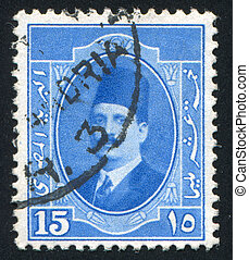 King Fuad - EGYPT - CIRCA 1923: stamp printed by Egypt,...