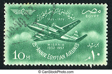 Viscount plane - EGYPT - CIRCA 1957: stamp printed by Egypt,...