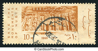 Monuments of Nubia - EGYPT - CIRCA 1960: stamp printed by...