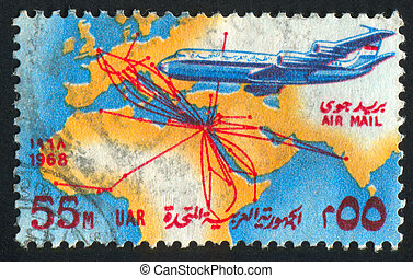 EGYPT - CIRCA 1968: stamp printed by Egypt, shows Map of United Arab Airlines and Boeing 707, circa 1968