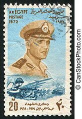 EGYPT - CIRCA 1972: stamp printed by Egypt, shows Abdel Moniem Riad portrait, battle, circa 1972