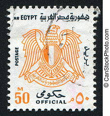 Arms of Egypt - EGYPT - CIRCA 1972: stamp printed by Egypt, ...