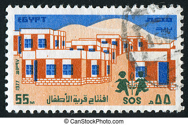microdistrict - EGYPT - CIRCA 1977: stamp printed by Egypt,...