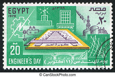 constructions - EGYPT - CIRCA 1979: stamp printed by Egypt,...