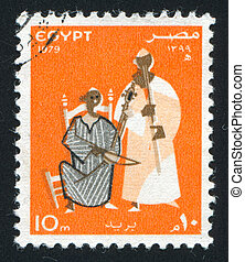 Musicians - EGYPT - CIRCA 1979: stamp printed by Egypt,...