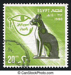 Eye sign - EGYPT - CIRCA 1980: stamp printed by Egypt, shows...
