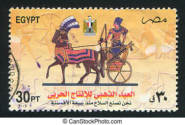 Chariot Riding - EGYPT - CIRCA 1985: stamp printed by Egypt,...