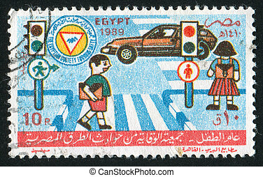 childrens - EGYPT - CIRCA 1989: stamp printed by Egypt,...
