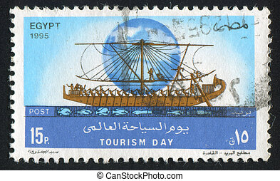 Ancient boat - EGYPT - CIRCA 1995: stamp printed by Egypt,...