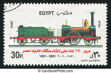 Steam locomotive - EGYPT - CIRCA 2001: stamp printed by...