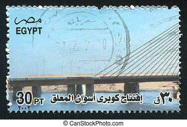 Bridge - EGYPT - CIRCA 2002: stamp printed by Egypt, shows...