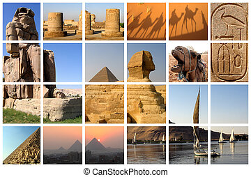 Egypt collage - Famous landmarks of Egypt on a huge lattice...