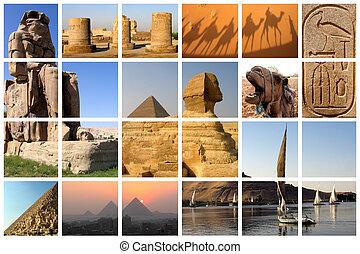 Egypt collage - Famous landmarks of Egypt on a huge lattice...