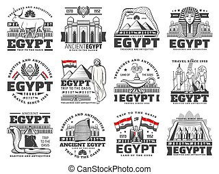 Egypt culture, history, religion and travel icons