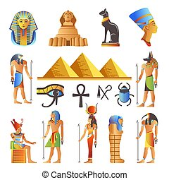 Egypt ancient culture symbols and icons set. Vector isolated Egyptian pyramids, Pharaohs and gods, mummy or Sphinx and sacred animals or birds, scarab and scorpion, Nefertiti and Tutankhamen signs