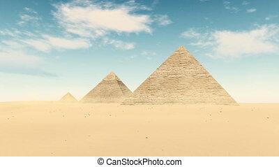 Egypt desert Great Pyramids of Giza timelapse 4K - Famous...