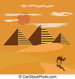 egypt desert with piramid