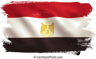 Egypt flag background with fabric texture.