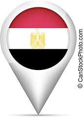 Egypt flag map pointer with shadow. Vector illustration