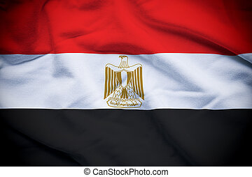 Wavy and rippled national flag of Egypt background.