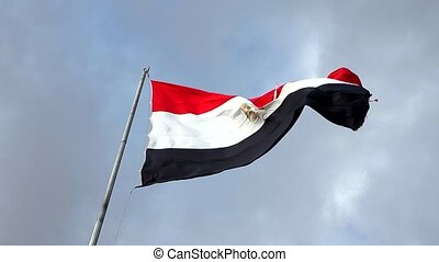 Egypt flag with fabric structure against a cloudy sky . HD