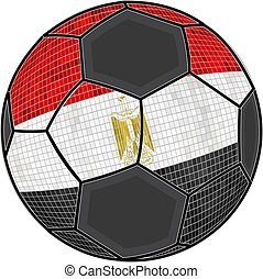 Egypt flag with soccer ball background