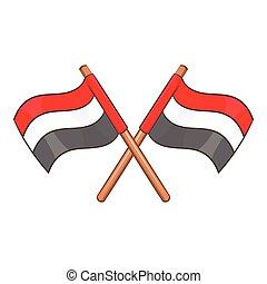 Egypt flags icon, cartoon style