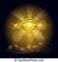 Egypt God eye on golden background