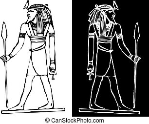 egypt god of war vector