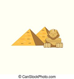 Egypt Great Pyramids and Sphinx statue, signs of traditional Egyptian culture cartoon vector Illustration