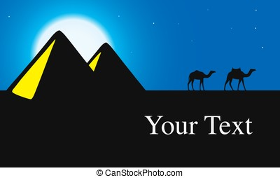 Egypt Great Pyramids with Camel caravan at night