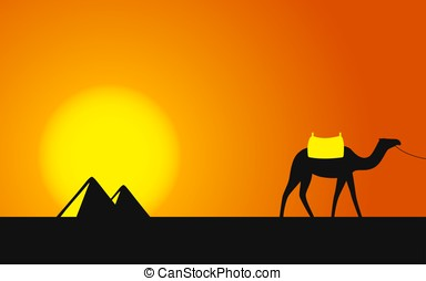 Egypt Great Pyramids with Camel caravan on sunset background